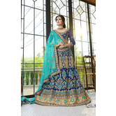 Craftsvilla Blue Color Net Embroidered A Line Semi-stitched Lehenga Choli