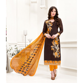 Craftsvilla Brown Color Chanderi Embroidered 3/4th Sleeves Calf Length Straight Suit