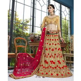 Craftsvilla Beige Color Net Embroidered A Line Semi-stitched Lehenga Choli