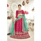 Craftsvilla Pink Bangalore Silk Embroidered Designer Semi-stitched Lehenga Choli