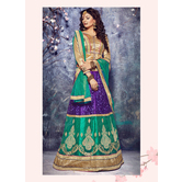 Craftsvilla Blue Color Net Embroidered Semi-stitched Designer Lehenga