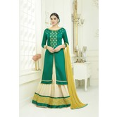 Craftsvilla Green Color Cotton Blend Embroidered Semi-stitched A Line Style Suit