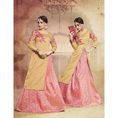 Craftsvilla Silk Beige Pink Lehenga With Tunic Top In Zardozi Embroidery