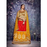 Craftsvilla Red Color Net Embroidered Semi-stitched Designer Lehenga