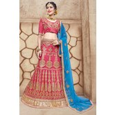 Craftsvilla Pink Net Embroidered Designer Lehenga Choli