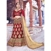 Craftsvilla Maroon Color Net Embroidered Semi-stitched Traditional Lehenga