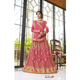 Craftsvilla Pink Color Net Embroidered A Line Semi-stitched Lehenga Choli
