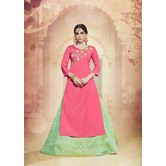 Craftsvilla Silk Pink Green Lehenga With Tunic Top In Zardozi Embroidery