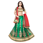 Craftsvilla Green Color Net Fabric Lehenga