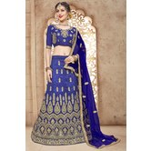 Craftsvilla Blue Mulberry Silk Embroidered Designer Lehenga Choli