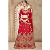 Craftsvilla Red Mulberry Silk Embroidered Designer Lehenga Choli