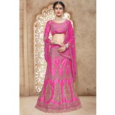 Craftsvilla Pink Bangalore Silk Embroidered Designer Lehenga Choli