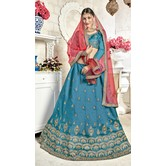 Craftsvilla Blue Bangalore Silk Embroidered Designer Semi-stitched Lehenga Choli