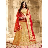 Craftsvilla Beige Net Embroidered Designer Lehenga Choli