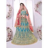 Craftsvilla Blue Net Embroidered Designer Lehenga Choli