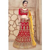 Craftsvilla Red Net Embroidered Designer Lehenga Choli