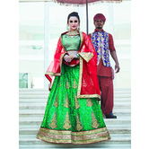 Craftsvilla Green Color Net Embroidered Semi-stitched Designer Lehenga