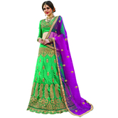 Craftsvilla Green Color Silk Embroidered Semi-stitched Designer Lehenga Choli