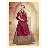 Craftsvilla Maroon Silk  Lehenga With Tunic Top In Zardozi Embroidery