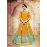 Craftsvilla Orange Turquoise Silk Lehenga With Tunic Top In Zardozi Embroidery