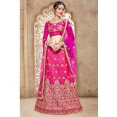 Craftsvilla Pink Mulberry Silk Embroidered Designer Lehenga Choli
