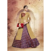 Craftsvilla Silk Beige Purple Lehenga With Tunic Top In Zardozi Embroidery