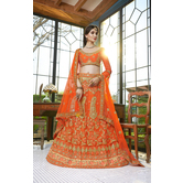 Craftsvilla Orange Color Net Embroidered A Line Semi-stitched Lehenga Choli