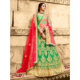Craftsvilla Green Net Embroidered Designer Lehenga Choli