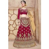 Craftsvilla Maroon Net Embroidered Designer Lehenga Choli