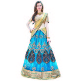 Craftsvilla Blue Color Net Fabric Lehenga