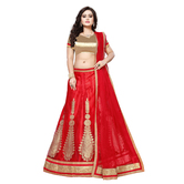 Craftsvilla Red Color Net Fabric Lehenga