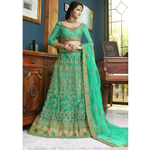 Craftsvilla Green Color Net Embroidered A Line Semi-stitched Lehenga Choli