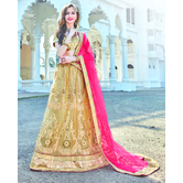 Craftsvilla Beige Color Net Embroidered Semi-stitched Traditional Lehenga