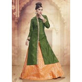 Craftsvilla Silk Green Orange Lehenga With Tunic Top In Zardozi Embroidery