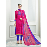 Craftsvilla Pink Color Chanderi Embroidered Semi-stitched Straight Churidar Suit