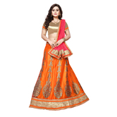 Craftsvilla Orange Color Net Fabric Lehenga