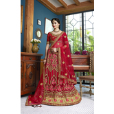 Craftsvilla Red Color Net Embroidered A Line Semi-stitched Lehenga Choli