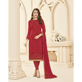 Craftsvilla Red Color Cotton Embroidered Semi-stitched Straight Suit