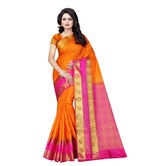 Craftsvilla Orange Color Jacquard Silk Woven Work Saree With Unstitched Blouse Piece