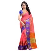 Craftsvilla Pink Color Poly Cotton Woven Work Saree With Unstitched Blouse Piece