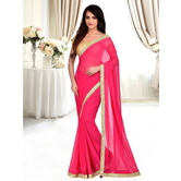 Craftsvilla Pink Color Georgette Lace Border Saree With Unstitched Blouse Piece