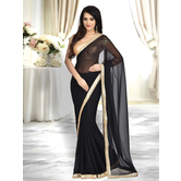 Craftsvilla Black Color Georgette Lace Border Saree With Unstitched Blouse Piece