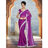 Craftsvilla Purple Color Georgette Chiffon Lace Border Saree With Unstitched Blouse Piece