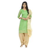 Craftsvilla Green Colour Cotton Embroidered Unstitched Dress Material