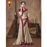Craftsvilla Beige Color Chiffon Lace Border Saree With Unstitched Blouse Piece