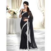 Craftsvilla Black Color Georgette Chiffon Lace Border Saree With Unstitched Blouse Piece