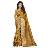 Craftsvilla Mustard Color Banarasi Silk Woven Work Saree With Unstitched Blouse Piece