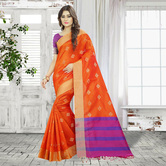 Craftsvilla Orange Color Cotton Silk Woven Designer Saree