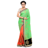 Craftsvilla Green Color Georgette Embellished Designer Saree