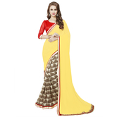Craftsvilla Yellow Color Georgette Embellished Designer Saree